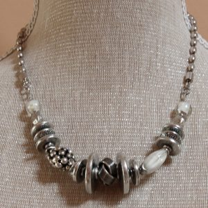 Antique Style Glass And Metal Bead Necklace